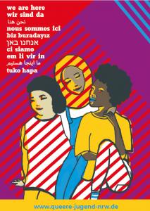 """Plakat """"Wir sind da"""" für Mädchen mit Fluchterfahrung"""